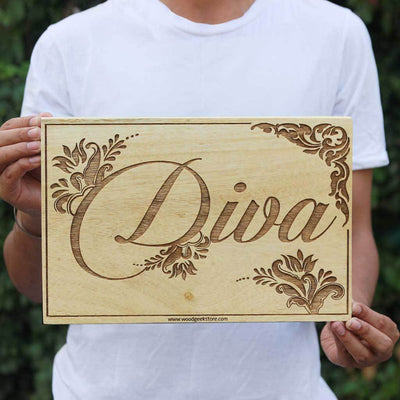 Diva Wood Word Sign - Wood Wall Posters - Wood Wall Art Decor - Woodgeek Store