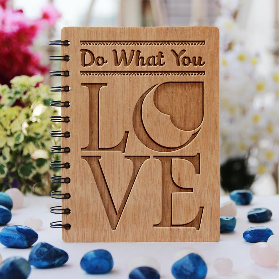 Do What You Love Wooden Notebook. Buy Inspirational Quote Spiral Notebook. Buy Personalized Diary Online - Woodgeek Store