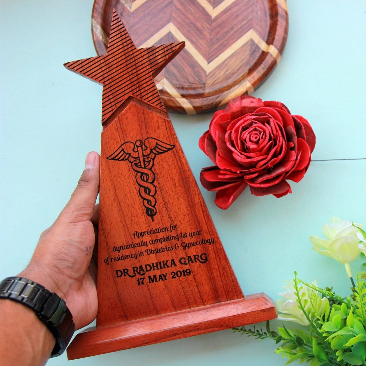 Wooden Trophy For Doctors Engraved With Doctors Symbol And Custom Text. Looking For Gifts For Doctors? This star trophy makes great graduation gifts for doctors.