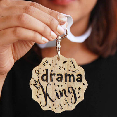 Drama King Wooden Medal. A funny award for the drama king. This custom medal makes great presents for friends. These engraved medals are funny gift ideas for brothers.