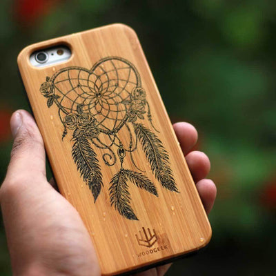 Dream Catcher Wooden Phone Case from Woodgeek Store - Bamboo Phone Case - Engraved Phone Case - Wooden Phone Covers - Custom Wood Phone Case - Boho Phone Cases