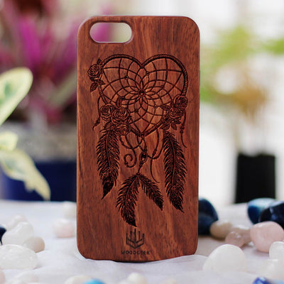 Dream Catcher Wooden Phone Case from Woodgeek Store - Rosewood Phone Case - Engraved Phone Case - Wooden Phone Covers - Custom Wood Phone Case - Boho Phone Cases