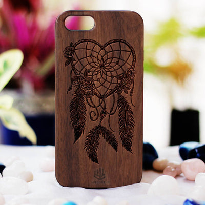 Dream Catcher Wooden Phone Case from Woodgeek Store - Walnut Wood Phone Case - Engraved Phone Case - Wooden Phone Covers - Custom Wood Phone Case - Boho Phone Cases