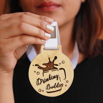 Drinking Buddies Wooden Medal With Ribbon. This Funny Medal Is The Best Gift Idea For Drinking Buddies