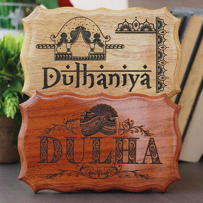 Dulha & Dulhaniya Indian Wedding Decorative Items - Wooden Wedding Signs by Woodgeek Store