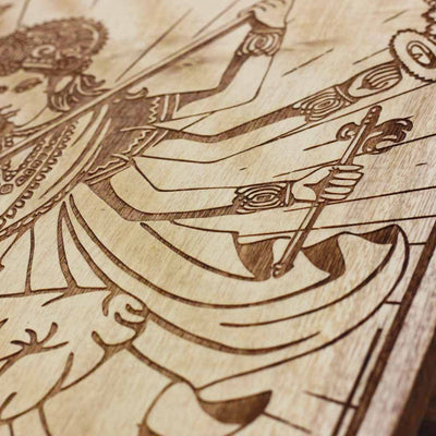 Wood Engraving - Durga Carved Wooden Poster by Woodgeek Store - Hindu Goddess Wooden Artwork - Indian Warrior Goddess Wood Wall Hanging - Buy Wood Wall Art Decor Online