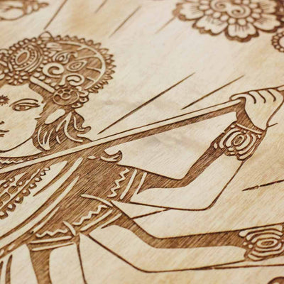 Durga Carved Wooden Poster by Woodgeek Store - Hindu Goddess Wooden Artwork - Indian Warrior Goddess Wood Wall Hanging - Buy Wood Wall Art Decor Online