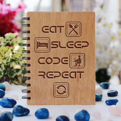Eat Sleep Code Repeat - Programming Journal - Wooden Notebook for Coders - Gifts for Computer Geeks by Woodgeek Store