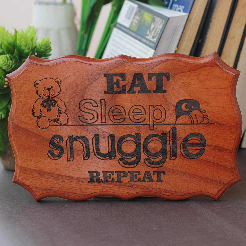 Eat Sleep Snuggle Repeat Engraved Wood Sign