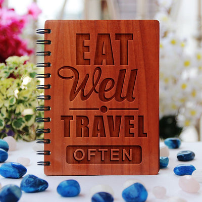 Notebook - Eat Well. Travel Often -  Wood Notebook