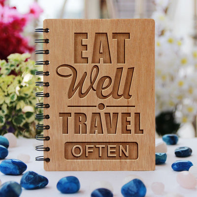 Notebook - Eat Well. Travel Often - Bamboo Wood Notebook