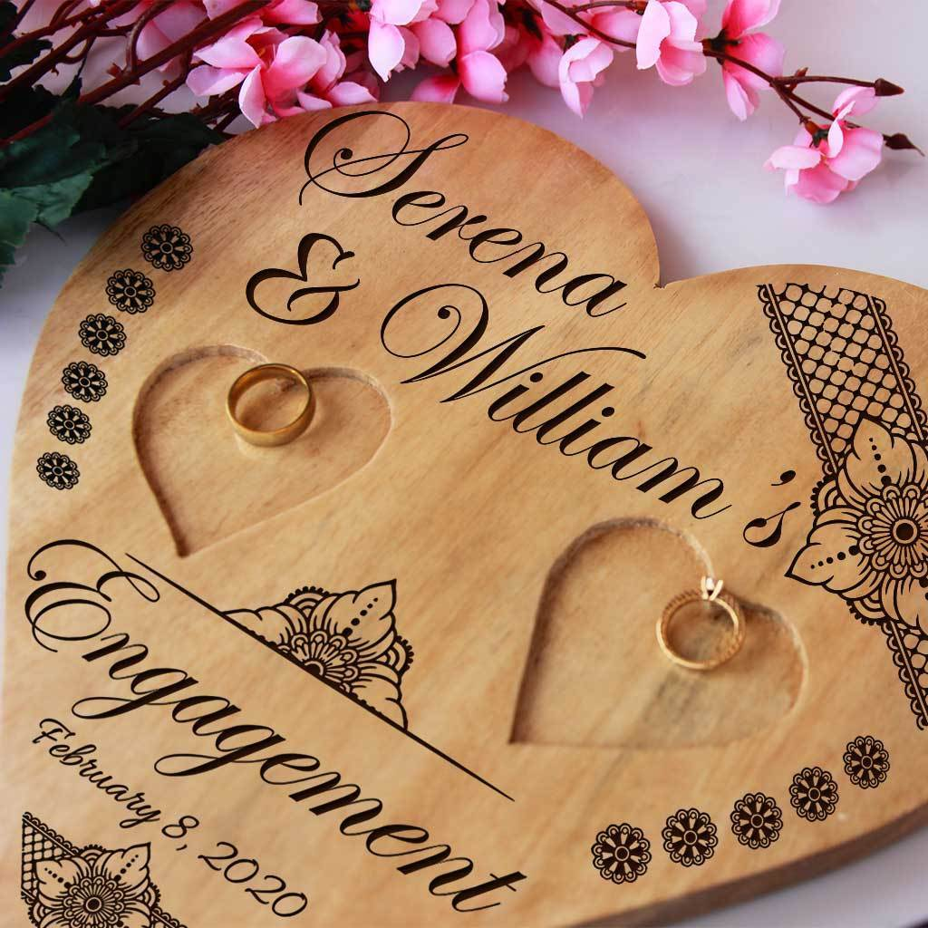 Wooden Heart Shaped Ring Holder Engraved With Names & Engagement Date. Personalised Ring Holder. Engagement Ring Platter. Best Engagement Ring Tray.