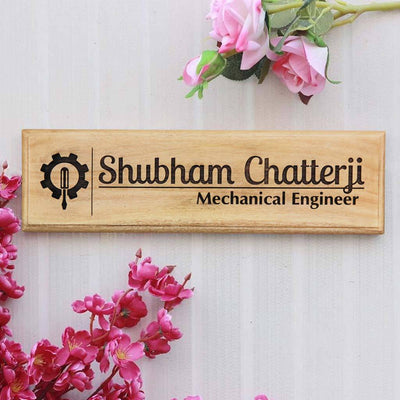 Custom Name Plates for Engineers. This wooden name plate will make great office name plates. It can be used as desk name plate and door name plate.