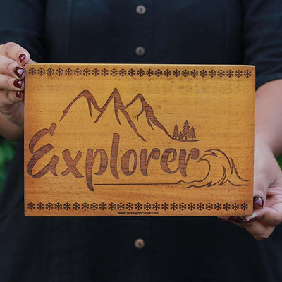 Explorer - Best Travel Gifts -  Explorer Wood Sign - Wood Wall Posters - Carved Wood Wall Decor - Woodgeek Store