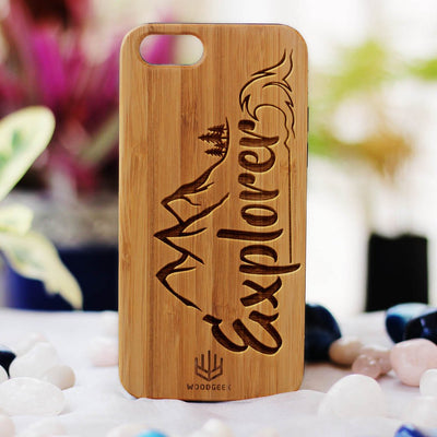 Explorer Wood Phone Case - Bamboo Phone Case - Engraved Phone Case - Travel Wood Phone Cases - Gifts for people who love to travel - Woodgeek Store