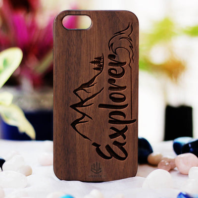 Explorer Wood Phone Case - Walnut Wood Phone Case - Engraved Phone Case - Travel Wood Phone Cases - Gifts for people who love to travel - Woodgeek Store