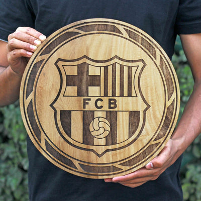 FCB Club Logo Round Poster - Carved Wooden Poster - Gifts for Football Fans by Woodgeek Store