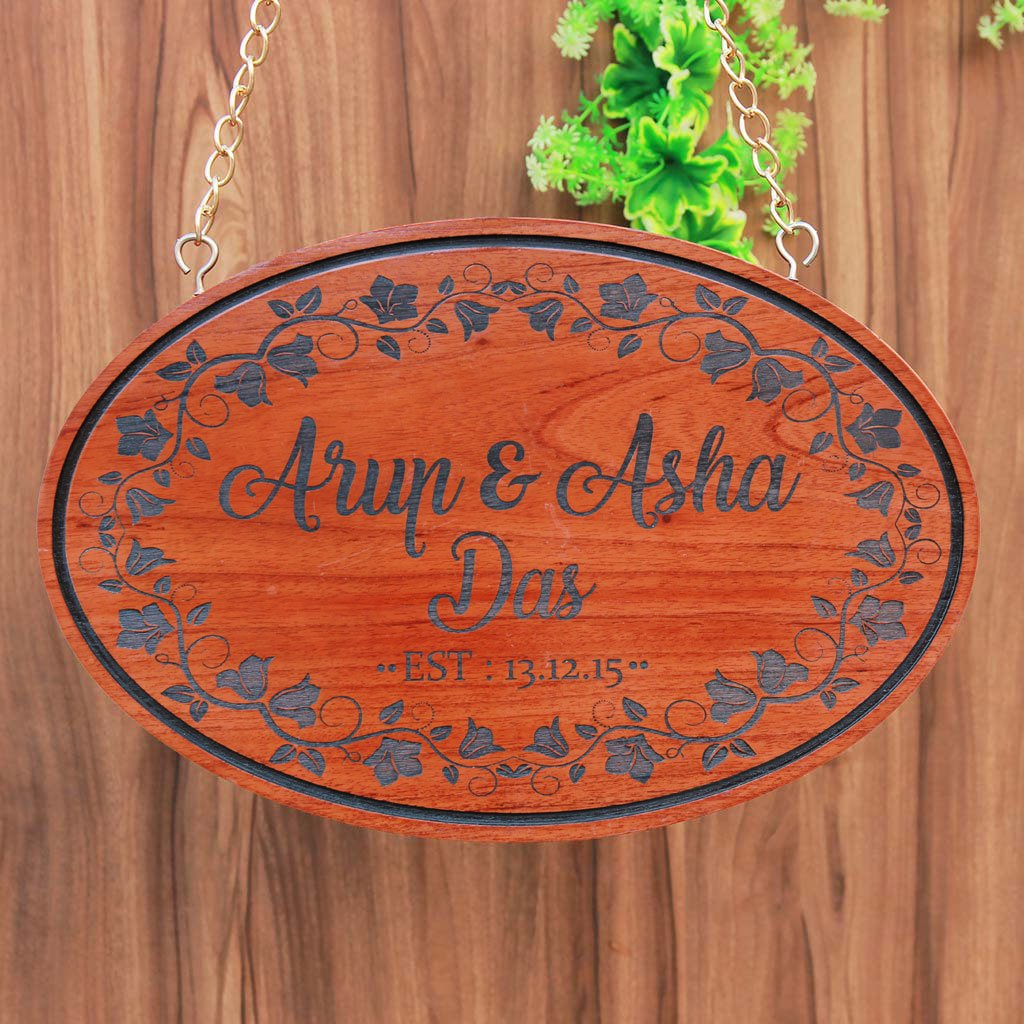 Personalized Couple Name Sign - Wooden Hanging Sign - Family Established Signs - Gifts For Couples - Wooden Name Signs - House Signs for Couples - Woodgeek Store