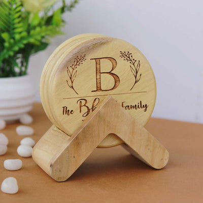 Family Name Coasters. Monogram Coasters. Wooden Coasters With Initials. Looking for Diwali gifts for family, gifts for mom, home decor gifts or housewarming gifts? Nothing beats the charm of a personalized gift. Buy coasters online at Woodgeek Store