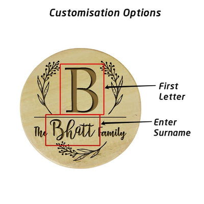 Family Name Coasters. Monogram Coasters. Wooden Coasters With Initials. Custom Coasters