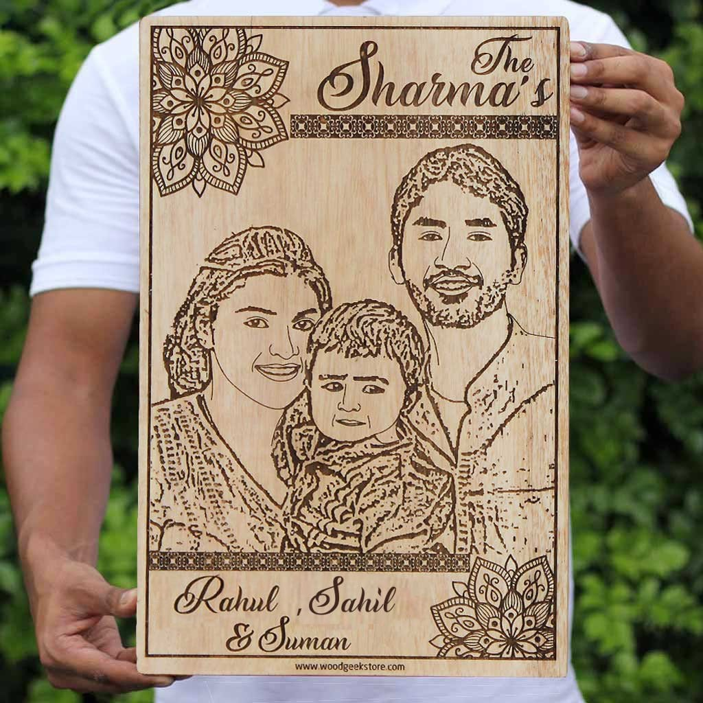 A Wood Engraved Photo Of Your Family. This Photo On Wood Is One Of The Best Family Gifts. A Custom Engraved Wooden Photo Frame Engraved With A Family Photo. Buy More Wooden Photo Frames From The Woodgeek Store