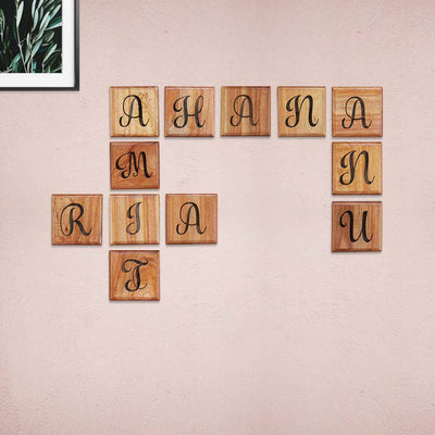 Crossword Wall Art - Family Tree Crossword Sign - Personalized Family Scrabble Tiles foe Walls by Woodgeek Store