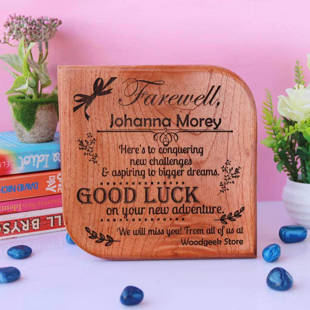 farewell message engraved wooden plaque  custom awards
