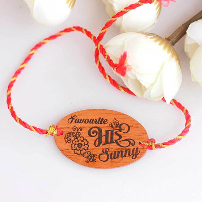 Favourite Bhai Personalised Rakhi and Raksha Bandhan Greeting Card. This Personalized Rakhi and Wooden Greeting Card Is The Best Rakhi Gift for Brother. Buy More Rakhi Gifts Online From The Woodgeek Store.