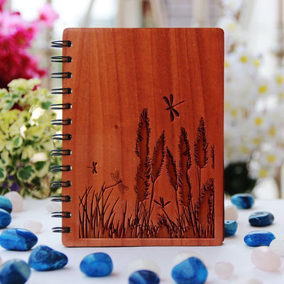 Field of Possibilities Wooden Notebook - Nature Based Journals - Minimalist Wood Engraved Notebooks by Woodgeek Store