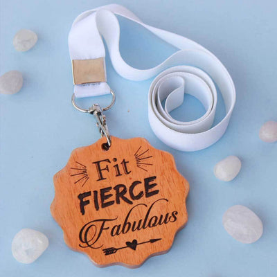 Fit, Fierce, Fabulous Wooden Medal. These Award Medals Are The Best Gifts For Fitness Lovers. These Custom Medals Make Great Friendship Day Gifts Or Birthday Gift For Friends Who Are Into Fitness.