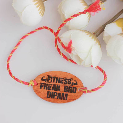 Fitness Freak Bro Personalised Rakhi and Raksha Bandhan Greeting Card - This Wooden Rakhi and Wooden Greeting Card Is The Best Raksha Bandhan Gifts for Brother - Buy Rakhi Online India And Wish Your Brother a Happy Rakhi With Personalized Gifts From The Woodgeek Store.