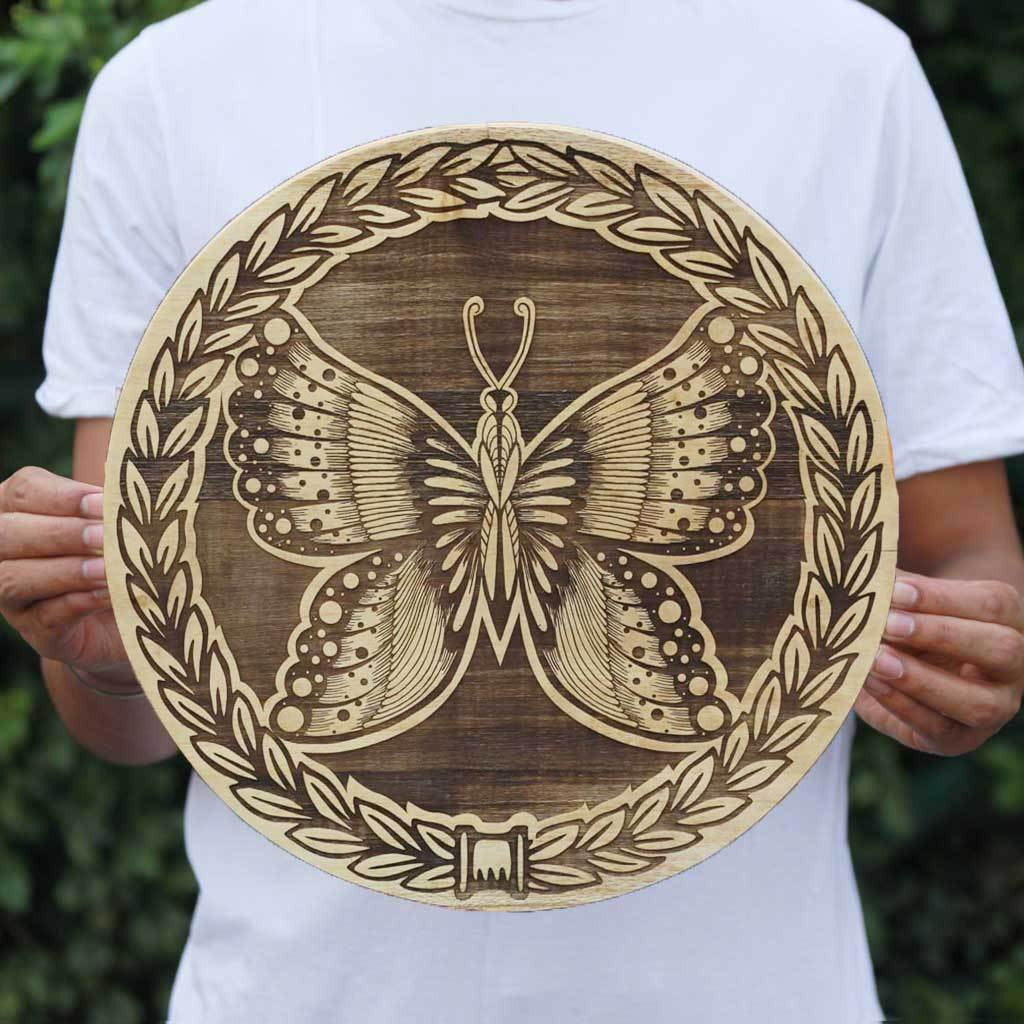 Butterfly Art Wooden Poster by Woodgeek Store - Wooden Artwork - Nature Wood Wall Hanging - Buy Wood Wall Art Decor Online