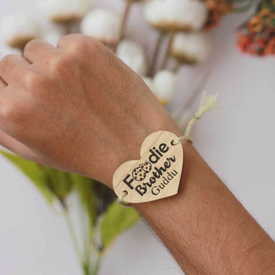 Foodie Brother Personalised Rakhi With Name & Raksha Bandhan Greetings Engraved On Wooden Card. These are the Best Rakhi Gifts. Buy Rakhis Online in India & Send Rakhis Online With Woodgeek Store.