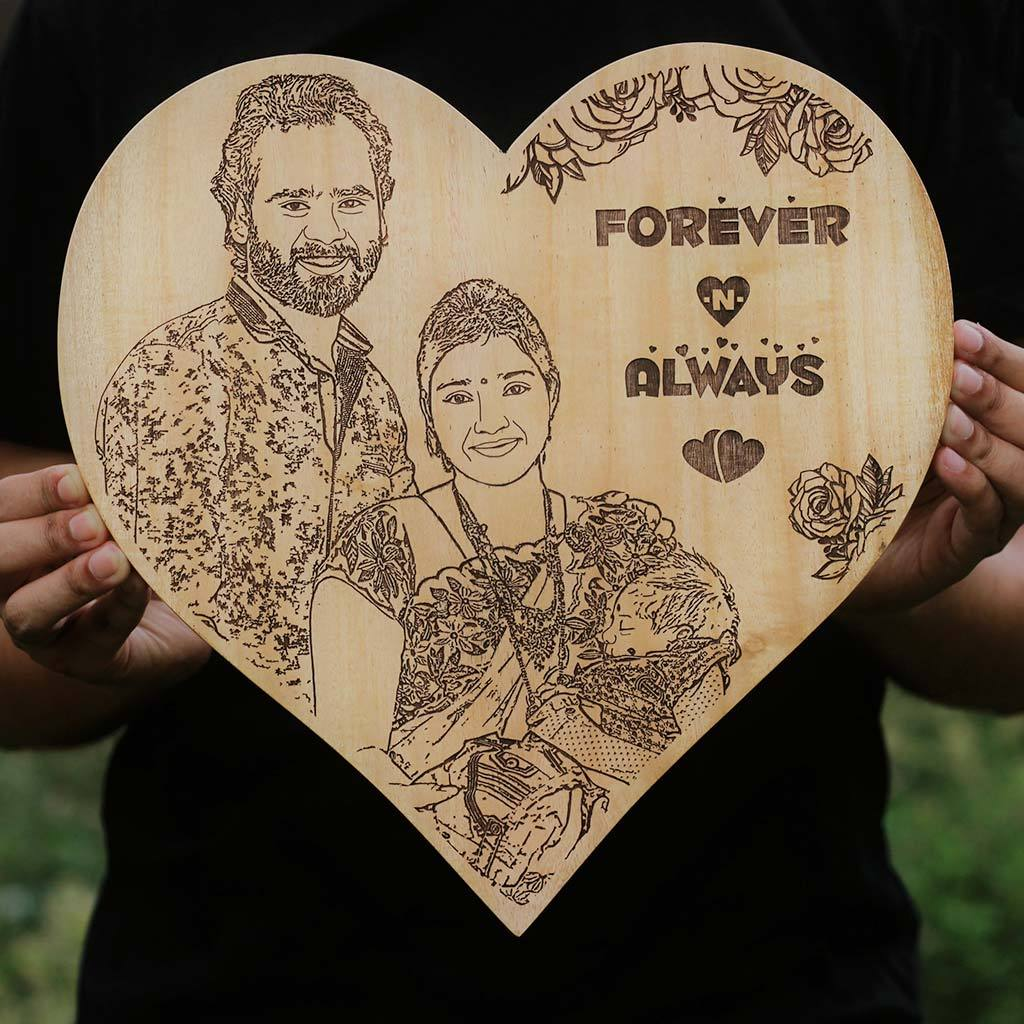 Forever Always Personalized Wooden Frame Carved Wood Poster