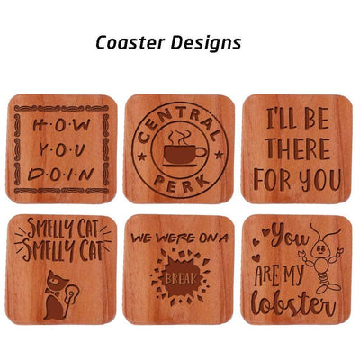 F.R.I.E.N.D.S Coasters. This Wooden Coaster Set With Holder Makes Great Gifts For Friends Fans. These wooden coasters can be used as a Tea coaster or coffee coaster.