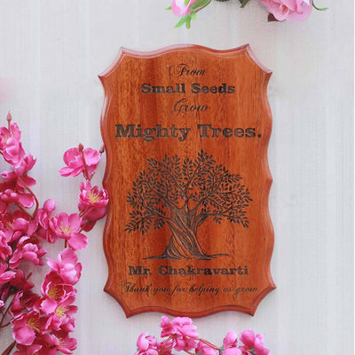 From Small Seeds Grow Mighty Trees Wood Sign - Custom Wood Sign Personalized With Name - Teacher Appreciation Gifts - Woodgeek Store
