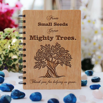 Wooden Notebook - From Small Trees Grow Mighty Trees - Bamboo Wood Journal - Teacher Appreciation Gifts - Teacher's Day Gifts - Woodgeek Store