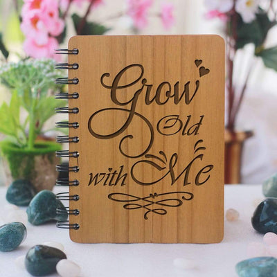 Grow old with me - Gifts for Boyfriend - Gifts for Girlfriend - Love Journal - Wooden Notebook - Personalized Notebook - Woodgeek Store