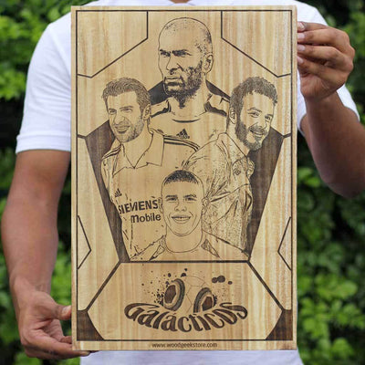 The Original Galacticos of Fooball Poster Made of Wood - The best football gift for every soccer fan by Woodgeek Store