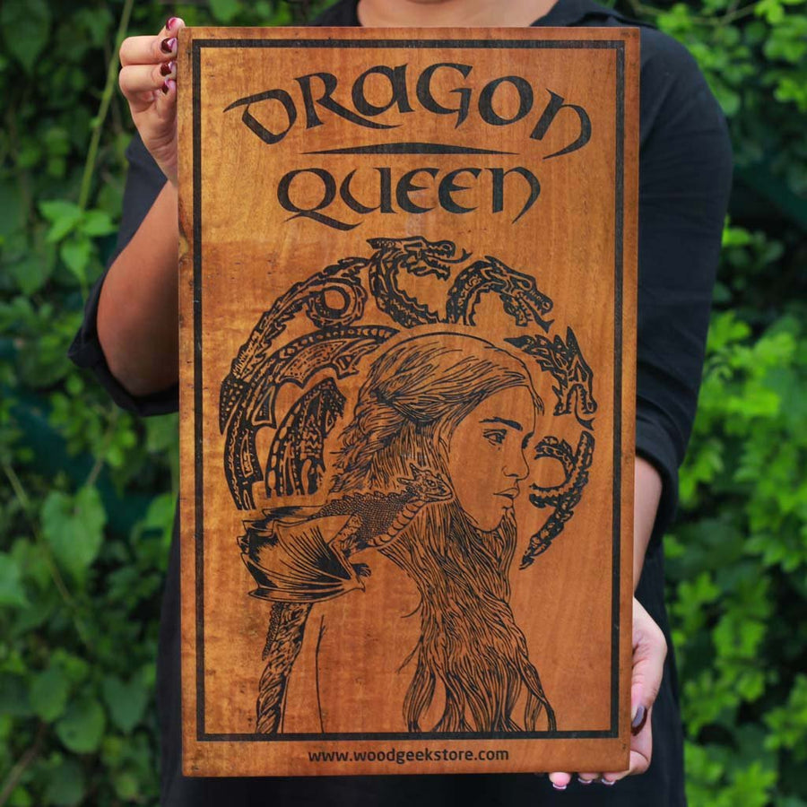 Wood Artwork | Dragon Queen Game of Thrones Wood Wall Decor | Wood Art - Woodgeek Store