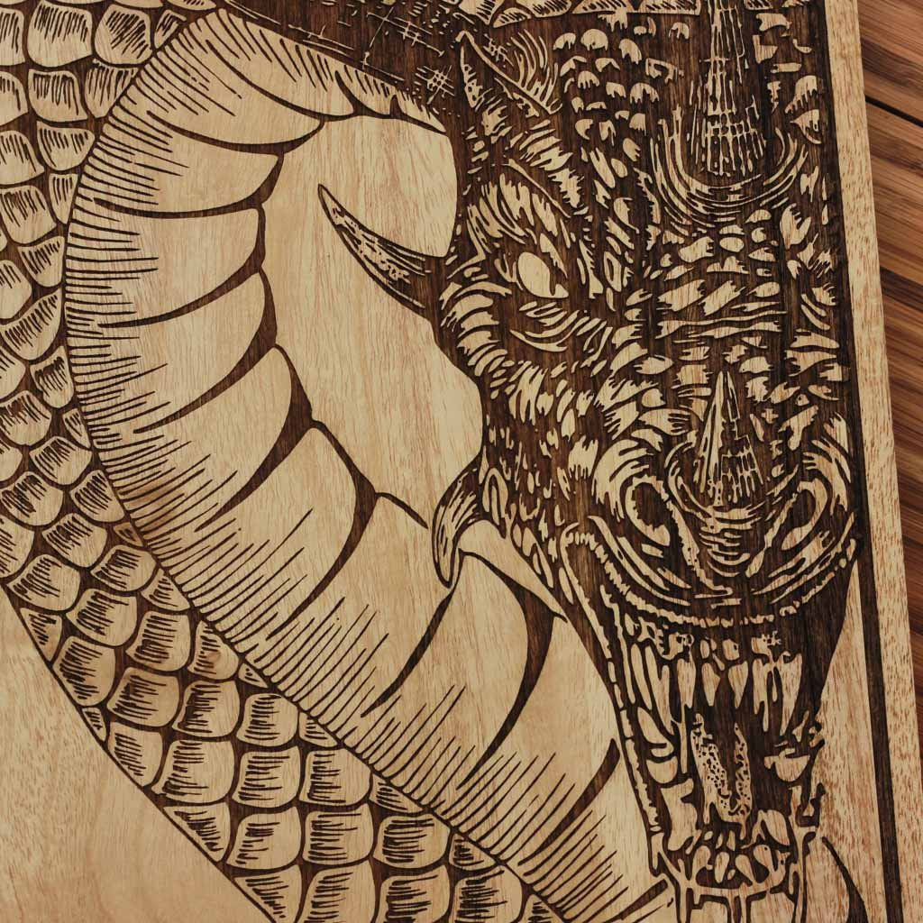 Wood Engraving   Wooden Poster   Fire Dragon Wall Decor   Chinese Zodiac  Wood Wall Art