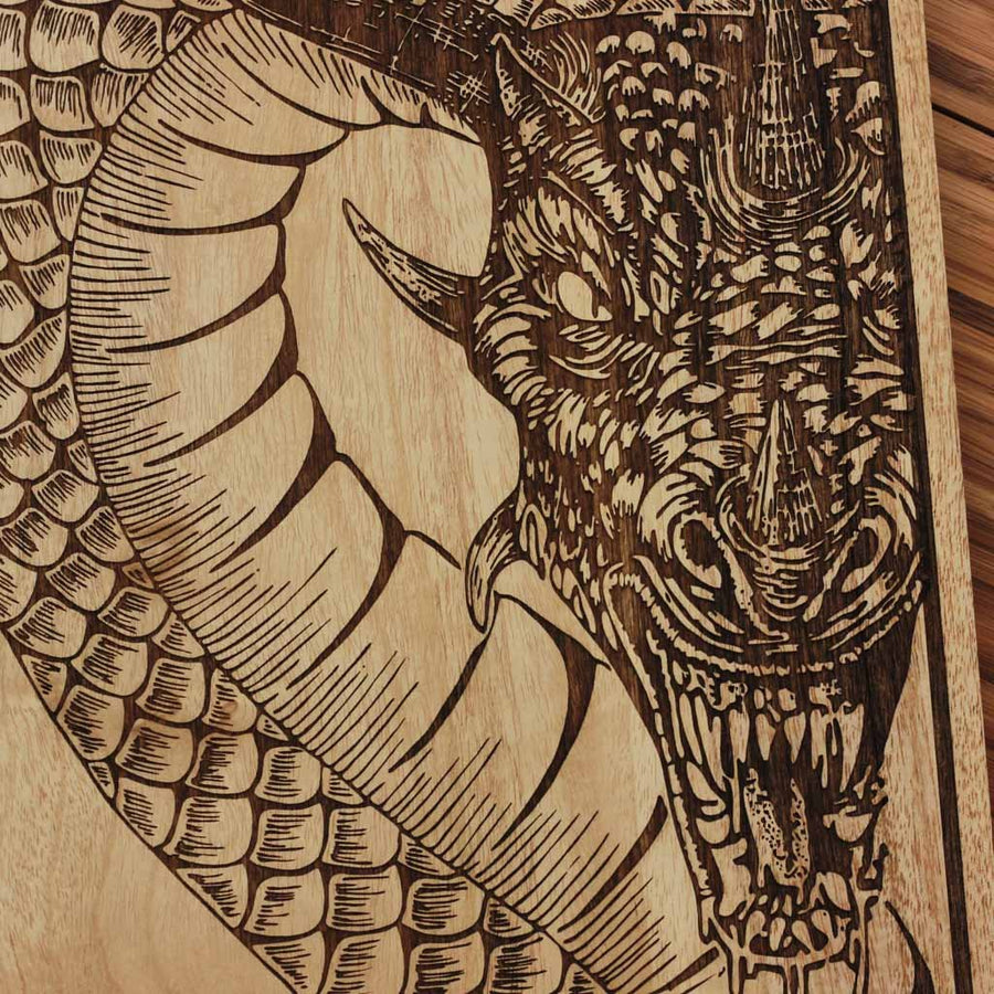 Wooden Poster - Fire Dragon Wall Decor - Chinese Zodiac Wood Wall art - Game of Thrones Wood Wall decor - Woodgeek Store