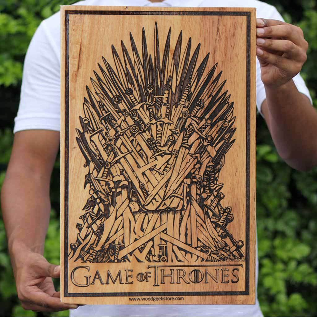 Game of Thrones Carved Wooden Poster - GOT Wall Art - Iron Throne Wood Artwork - Wood Wall Art Decor - Woodgeek Store