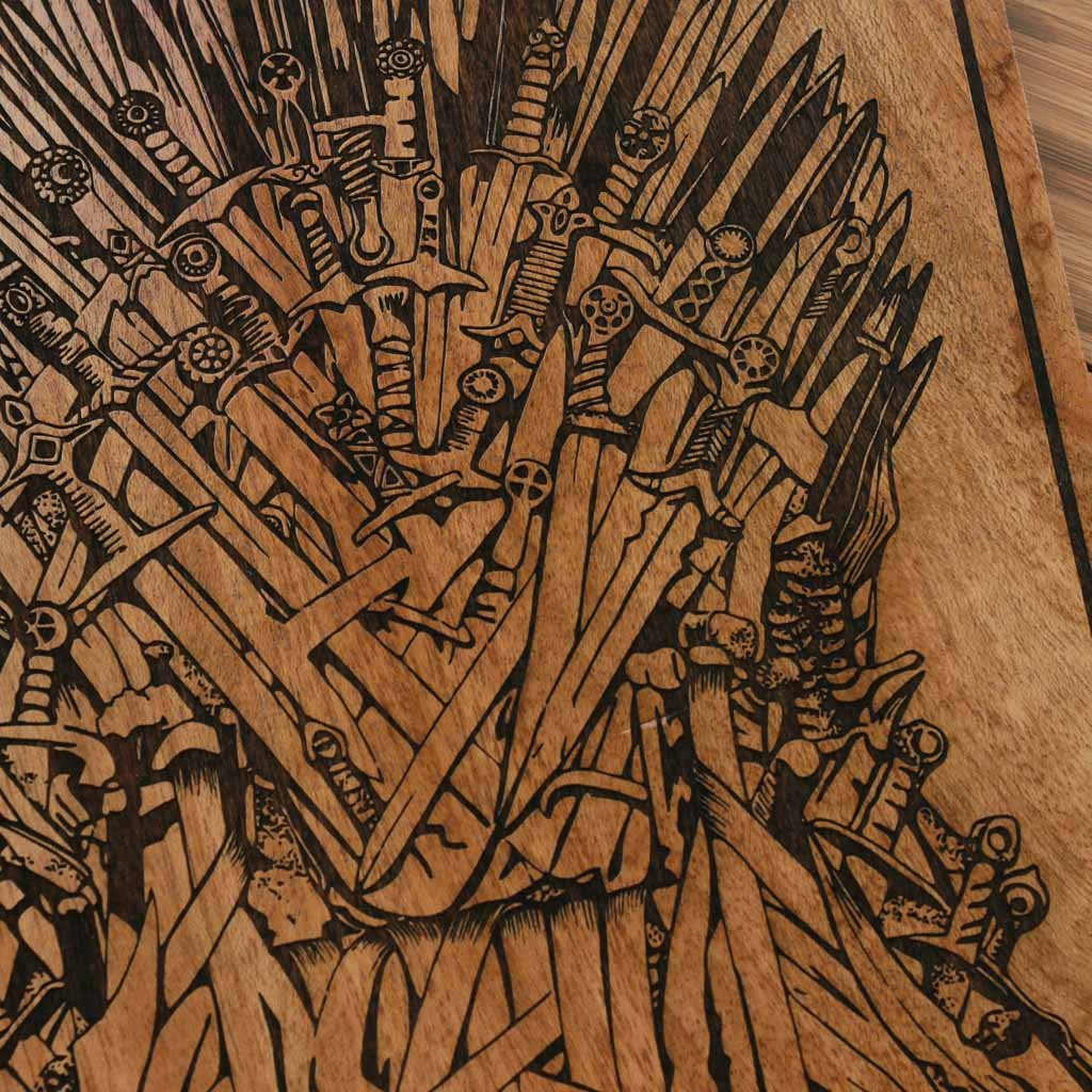 Game Of Thrones Carved Wooden Poster   GOT Wall Art   Iron Throne Wood  Artwork