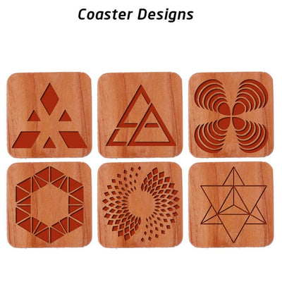 Geometric Design Coasters. Wooden Coasters. Table Coaster Set Designs.