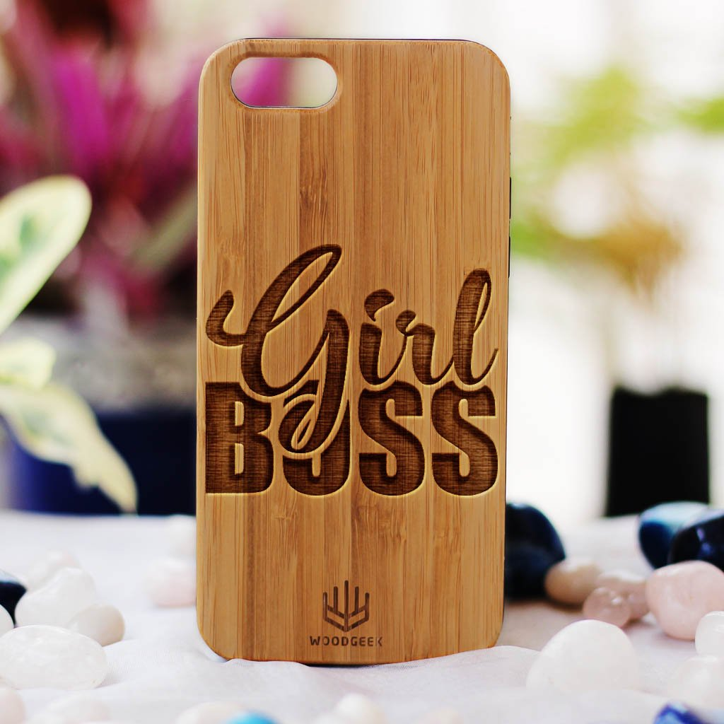 Girl Boss Wooden iPhone Case - Women's Day Gifts - Gifts for Women - Woodgeek Store