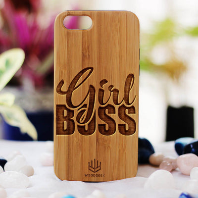 Girl Boss Wood Phone Case - Bamboo Phone Case - Engraved Phone Case - Wood Phone Cases for Women - Feminist Wooden Cases - Woodgeek Store