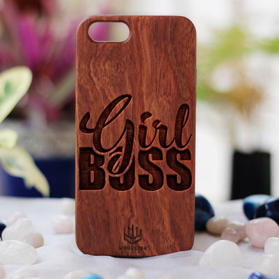 Girl Boss Wood Phone Case - Rosewood Phone Case - Engraved Phone Case - Phone Cases for Women - Feminist Wood Phone Cases - Woodgeek Store