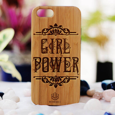 Girl Power Wood Phone Case - Bamboo Phone Case - Engraved Phone Case - Wood Phone Cases for Women - Feminist Wooden Cases - Woodgeek Store