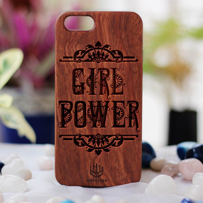 Girl Power Wood Phone Case - Rosewood Phone Case - Engraved Phone Case - Phone Cases for Women - Feminist Wood Phone Cases - Woodgeek Store